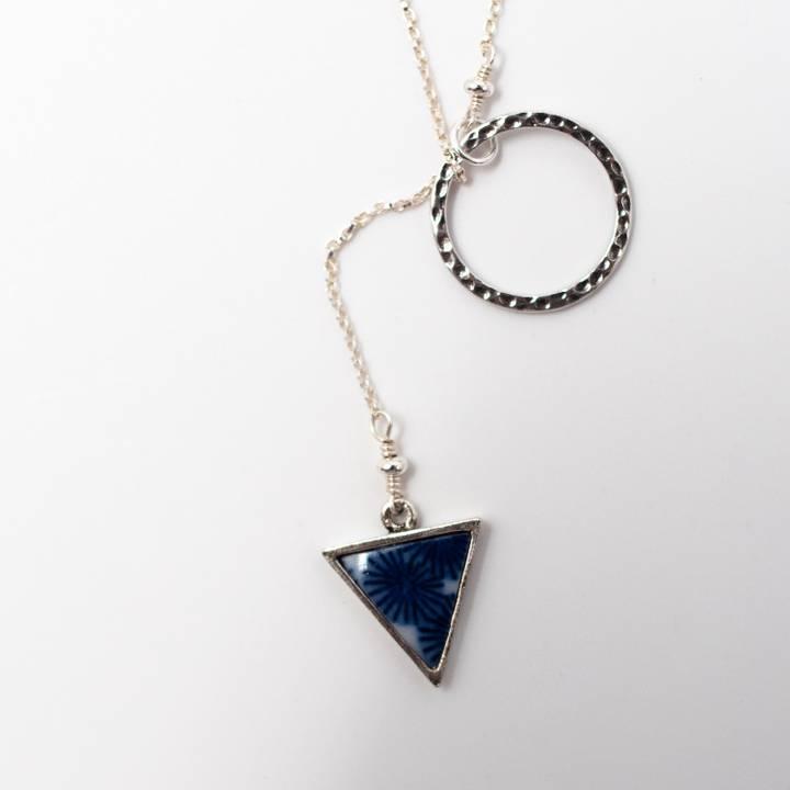 Image of Sometsuke Silver Lariat Necklace