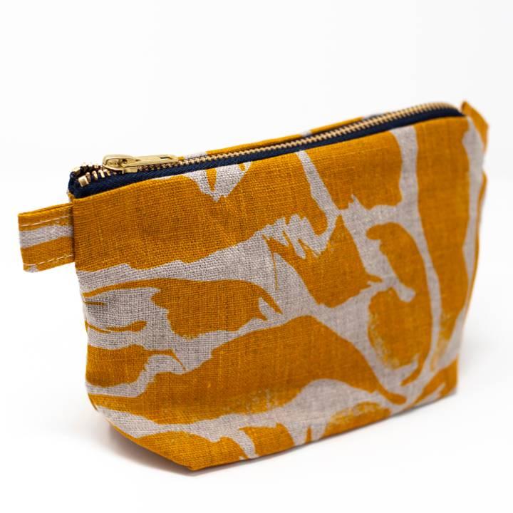 Image of Mustard Linen Wash Bag Small