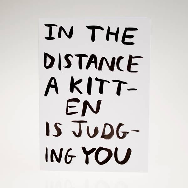 Image of Judging Kitten Greeting Card