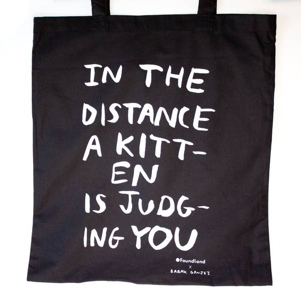 Image of Judging Kitten Tote Bag Black