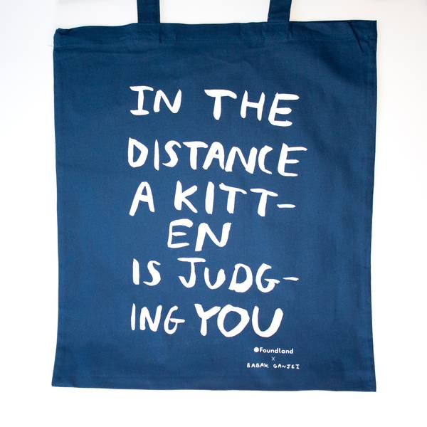 Image of Judging Kitten Tote Bag Petrol