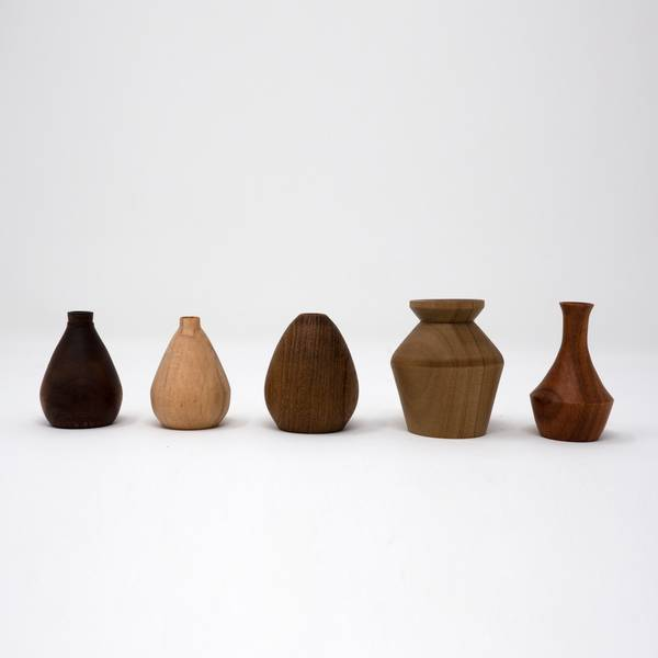 Image of Miniature Wooden Vases: Gunnar Nylund Collection