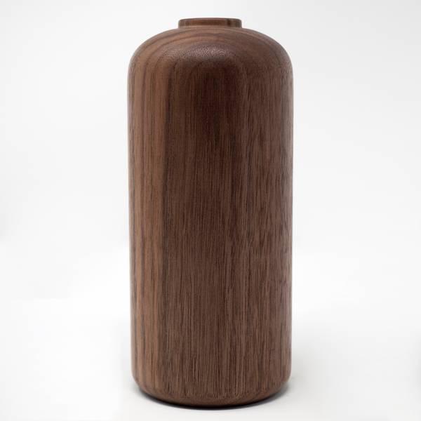 Image of Hand Carved Walnut Vase