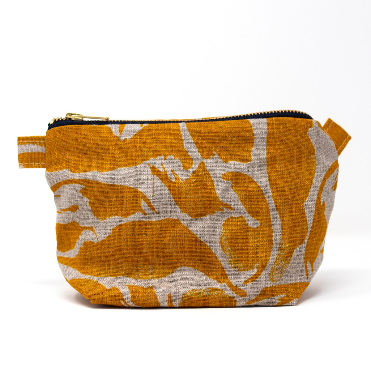Photo of Mustard Linen Wash Bag Small