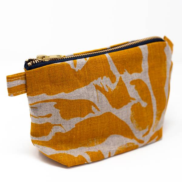 Image of Mustard Linen Wash Bag Small