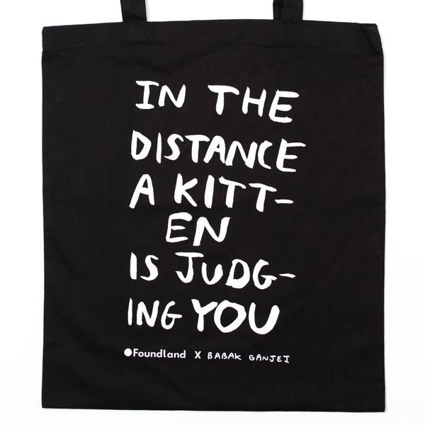 Image of Judging Kitten Tote Bag Black