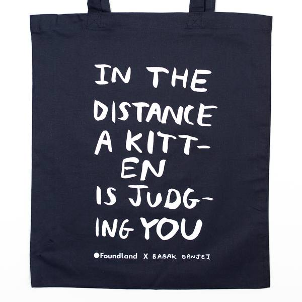 Image of Judging Kitten Tote Bag Navy