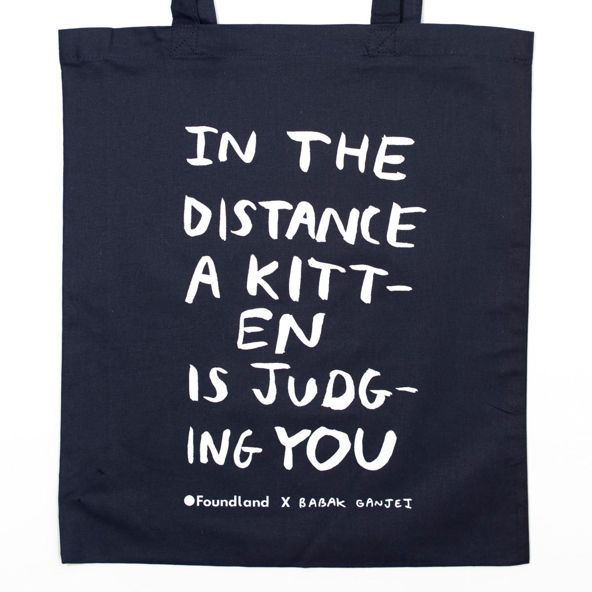 Photo of Judging Kitten Tote Bag Navy