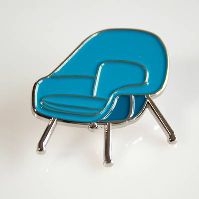 Image of Blue Womb Chair Enamel Pin