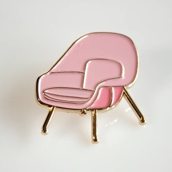 Image of Pink Womb Chair Enamel Pin