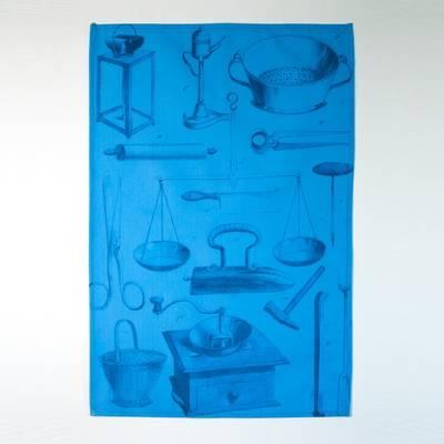 Image of Blueprint Bookplate Tea Towel