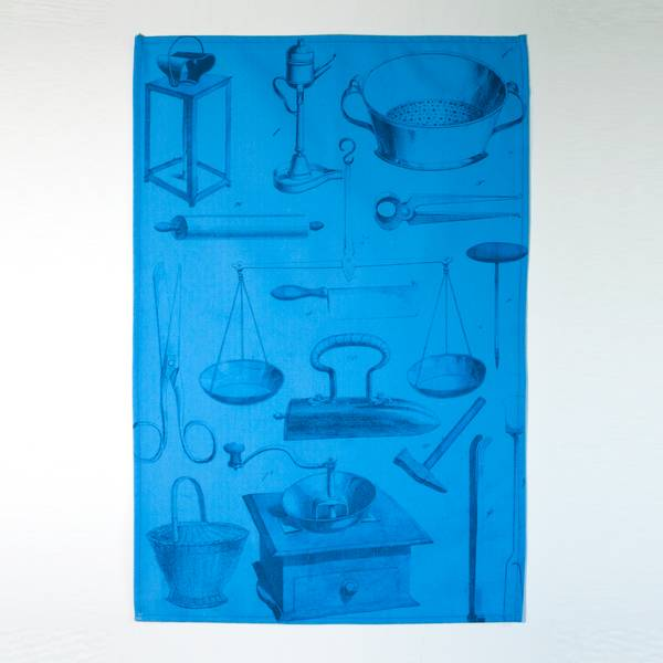 Image of Blueprint Bookplate Tea Towel