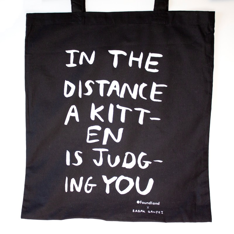 Photo of Judging Kitten Tote Bag Black