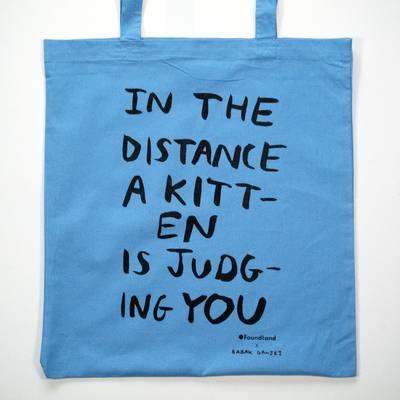 Image of Judging Kitten Tote Bag Cornflower