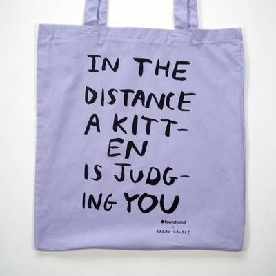 Image of Judging Kitten Tote Bag Lavender