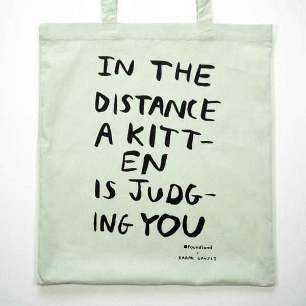 Image of Judging Kitten Tote Bag Mint