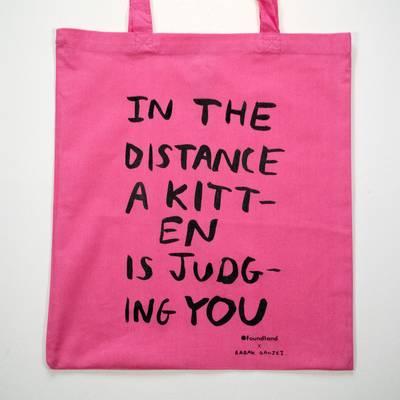 Image of Judging Kitten Tote Bag Pink